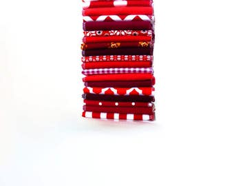 10 Red Modern Cloth Napkins - Casual Napkins or Reusable Paper Towels - Chevron Gingham Dot Stripe - Eco Friendly - Paperless - 10 x 12 cb