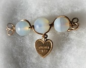 Sweetheart Pin Niagara Falls , 3 opalescent beads, heart, safety pin closure, vintage wire work
