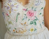 RESERVED Meadow Bustier Wedding Gown or Formal Dress... boho whimsical woodland country vintage hand embroidered eco friendly