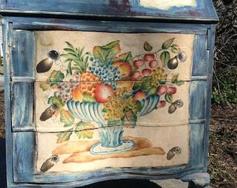 Vintage Painted Desk -  Vintage Writing Desk - Painted Desk - Shabby Chic Desk - Bohemian Desk - Antique Secretary's Desk - Rustic Farmhouse