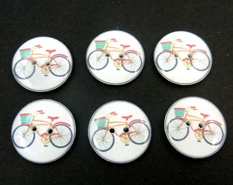 "6 Retro Bicycle Sewing Buttons.  3/4"" or 20 mm round"