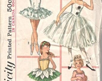 Simplicity 6204 1960s Girls Ballet Ballerina Costume Hat Ruff TUTU Pattern Vintage Sewing Pattern Size 10 Breast 28