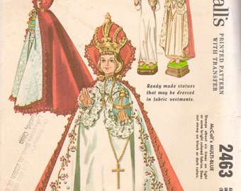 McCalls 2463 1960s Infant of Prague Vestments Pattern 9 12 and 18 Inches Gown and Cape Cloak Vintage Religious Sewing Pattern