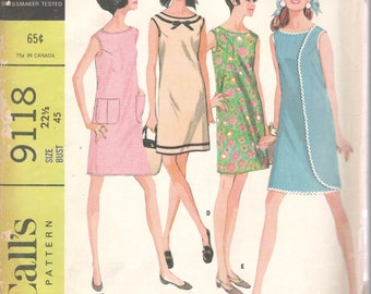 1960s McCalls 9118 3 Armhole Dress Pattern 6 Versions Womens Half Size Vintage Sewing Pattern Size 22 1/12 Bust 45