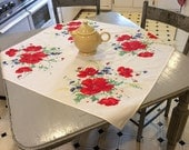 Vintage Wilendur Tablecloth Red Poppies & Blue Bachelor Buttons