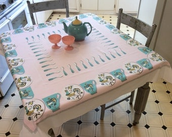 Vintage Tablecloth Mid Century Roosters on Teacups Aqua & Pink