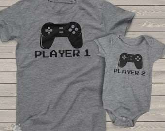 Video game player 1 and player 2 matching dad and kiddo t-shirt or bodysuit gift set - great gift for video game loving dad MDF1-007