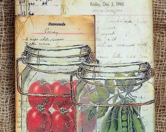 Vintage Style Canned Vegetables Mason Jar Gift or Scrapbook Tags or Magnet #130