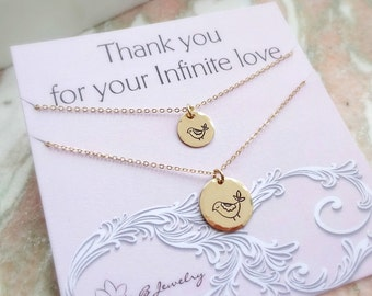 Mother Daughter necklace set, Mama bird & Baby bird, mothers day, mother of the bride, valentines day for mom, matching necklaces, Otis B