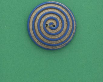 Button , 2 hole sew on,  26mm ,spiral button , blue with  gold ,  made in Germany sold 4 each OB7575