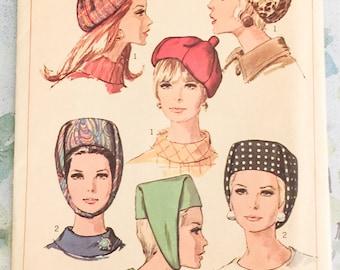 Simplicity 7326 Hats Pillbox Beret Cap Millinery Sewing Pattern Vintage 1960s UNCUT