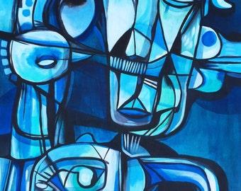 "Blue Man - Original Painting on Wood Panel - 24"" x 36"""