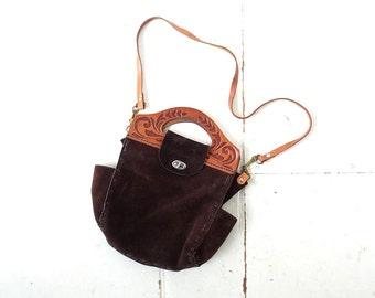 Vintage Suede Bag   Badlands   Tooled Leather Purse   70s Purse
