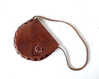Vintage 70s Bag | Vitis Vinifera | Tooled Leather Purse