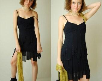 Little Black Silk Dress Vintage Black Silk Beaded SUE WONG Fringe Draped Cocktail Dress (s)