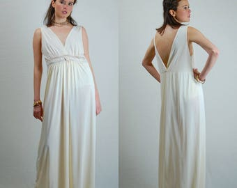 Grecian Slip Dress Vintage 70s Sheer Cream Plunging Grecian Boho Draped Slip Maxi Dress  (s m)