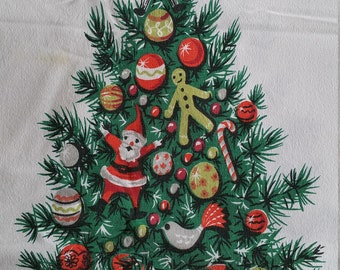 TCX003 ~ Vintage tablecloth Christmas trees Rectangle tablecloth Santa Gingerbread man Candy canes