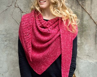 Rose Wedge Shawl Knitting Pattern - PDF