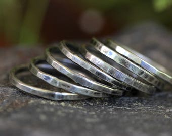 Silver Stacking Rings Simple Silver Ring Silver Rings Silver Stacking Rings Stackable Rings Hammered Silver Ring Hammered Ring Sterling Ring