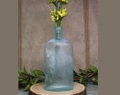 Vintage BOTTLE- Fellows Syrup of Hypophosphites- Chemists Seafoam Green BOTTLE- Apothecary Medicine- Large Bottle- D81