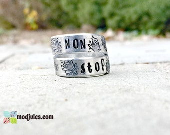 Non Stop Ring, Alexander Hamilton Inspired Ring, Hamilton Jewelry, Hand Stamped Wrap Ring, Musical Jewelry, Quote Ring, Peacock Quill