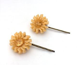 Vintage Upcycled Hair Bobby Pins Yellow Gold Thermoset Sun Starburst Retro Mid-Century Modern Hair Pin