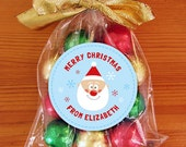 Personalized Christmas Gift Tags or Stickers - 2 Inch Circle - DIY Printable - Jolly Santa (Digital File)