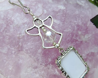 Wedding bouquet photo charm- with angel. Pearl or crystal Angel wedding photo charm. Bridal shower gift. DIY photo charm.