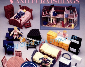 Victorian Family & Furnishings, Needlecraft Shop Plastic Canvas Patterns Dolls, Doll House Décor Mom Dad Kids Cat Dog Furniture