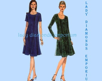 Simplicity 9406 Womens Pullover A-line Flared Dress Long or Short Sleeve size 6 8 10 12 14 16 18 20 24 It's So Easy Sewing Pattern Uncut FF