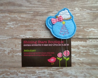 Felt Planner Clips - Blue Hot Chocolate Drink In A Mug With Whipped Cream And A Pink Tree Paperclip Or Bookmark - Holiday Accessory For Book