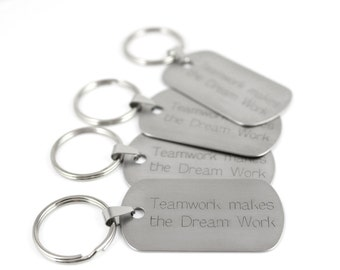 Personalized Keychain - Coworker Gift - Motivational Gift - Engraved Keychain - Employee Gifts - Monogram Keychain - Dog Tag Keychain