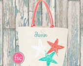 Canvas Starfish Tote Personalized, Monogrammed Canvas Tote Bag, Starfish Bag , vacation bag, Bridesmaid gift, beach bag personalized