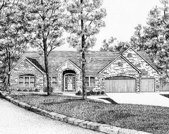 COMMISSIONED HOME PORTRAIT In Pen & Ink by Suzanne Churchill, Perfect Realtor Closing Gift, First Home Gift, Parents Gift or Moving Gift