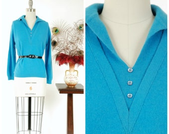 Vintage 1960s Sweater - Soft Teal Blue Pullover Early 60s Sweater with Deep V Button Detailing