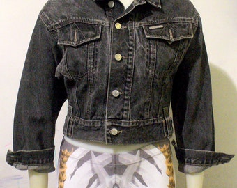 Black Cropped Denim Puma Jacket
