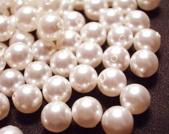50 Pieces 8mm Ivory Pearls Plastic Pearls Pearl Beads Plastic Pearl Beads