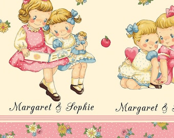 Children's Vintage Fabric, Dear Little World Margaret and Sophie Border Fabric White/Pink Multi Cotton Fabric