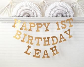 Glitter Custom Banner Birthday - 5 inch Tall Letters - Happy First Birthday Banner 1st Birthday Party Decor Glitter Happy Birthday Name Sign