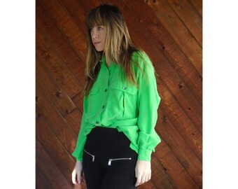 Kermit Green Silk l/s Utility Blouse - Vintage 90s - MEDIUM