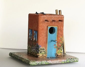 Unique Old Pueblo Birdhouse   , Handcrafted , Hand Painted , Comes with Ladder