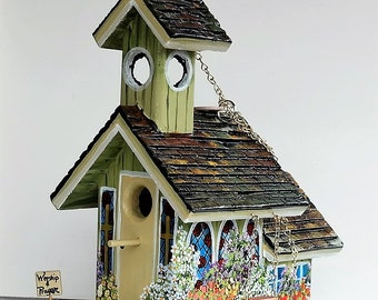Unique Colorful Green Church Birdhouse , Handmade , Hand Painted with a Swing in the Eaves, Bible on the Bench and a Bell in the Belfry