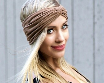Suede Turban Headband Adult Headband Soft Headband Bohemian Hippie Fall Fashion Head Wrap Hair Scarf Tan Beige Faux Suede Faux Leather Women