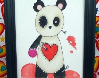 Voodoo Doll Panda Original Art Watercolor Painting 5 x 7 FRAMED