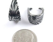 TierraCast Silver Pendant Pinch Bails-Pewter LARGE JARDIN (2)