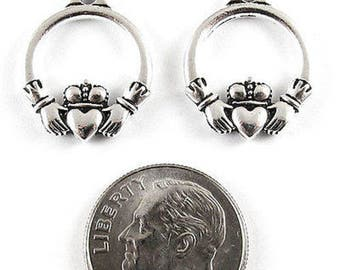 TierraCast Pewter Charms-Silver Small Claddagh (2)