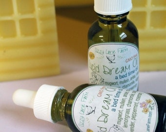 Lucid Dream Oil | Organic Herb Dreaming Oil | 1 oz. Glass Bottle | Herbal Oil | Dreaming Oil | Clary Sage Oil | Mugwort Oil |