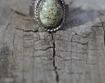 Neptune Veriscite Oxidized Sterling Silver Ring Ready to Ship Size 8