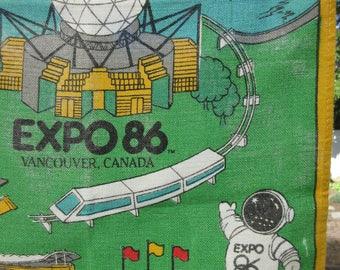 Vintage Towel, Vintage Tea Towel, 1986 World Expo Souvenir, Vancouver Canada Souvenir Towel, Expo 86, Linen Tea Towel, 1980s Souvenir
