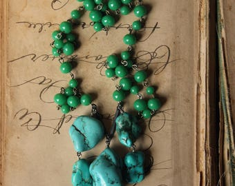 Sacred Spring. Rustic Boho Chic Vintage Glass Beaded Chain and Chunky Turquoise Magnesite Necklace.